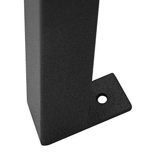 2tlg. Sitzbank-Set Gartenbank wetterfest Metall Schwarz / Polywood Grau + Auflage 120x48x6cm Anthrazit strukturiert - 7