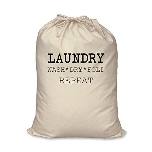 60 Second Makeover Limited Bolsa Lavandería Lavado Dry Fold Repeat 100% Algodón Natural Almacenamiento en el hogar Organización Cesta de la Colada - Grande 60cm x 76cm