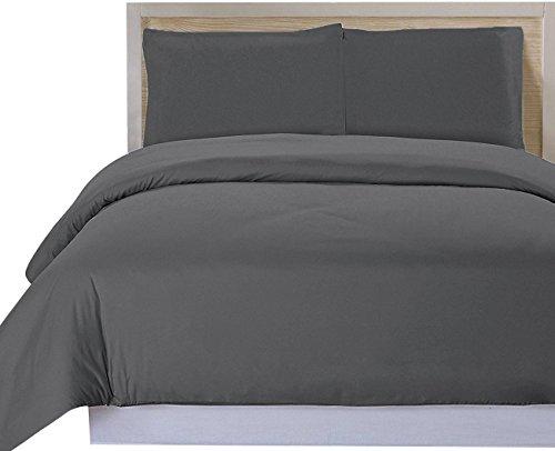 Utopia Bedding 2 Stück Bettbezug-Set - Bettbezug Plus 1 Kissen Sham, Luxus-Soft-Hotel-Qualität Falten, verblassen und Flecken Resistent (Bettbezug 135x200 cm 1 Kissenbezug 80x80 cm, Grau)