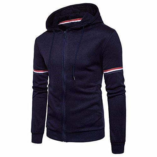 Manadlian [New Arrival Design] Mode Herren Zur Seite fahren Lange Ärmel Warme Kapuze Sweatshirt Gestreift Bluse Schwarz Grau Marine Tops (Marine, L)