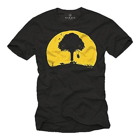 T-Shirts mit lustigem Aufdruck KINDER SCHAUKEL ABFLUG schwarz Herren XXL