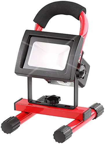 Luminea Akku Strahler: Wetterfester LED-Akku-Baustrahler mit Stand-Sockel, 10 W, 340 lm, IP65 (Akku LED Strahler)