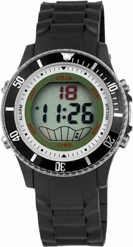 Preisvergleich Produktbild Sportliche Digitaluhr mit Funktionen, Silikonarmband, Unisex im Schwarz, Wasserdicht bis 3 ATM, Durchmesser 40 mm