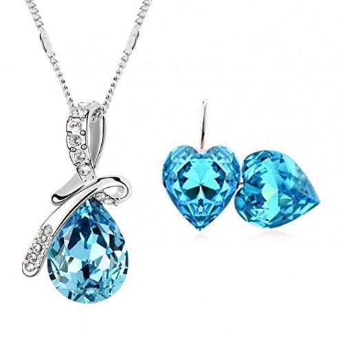 Parure goutte et coeur cristal swarovski elements plaqué or blanc Bleu turquoise