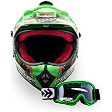 Arrow Helmets AKC-49 - Juego de gafas y casco de Cross, casco infantil, casco deportivo para niños, quad, bicicleta, Enduro MX, moto, MTB, certificado DOT, incluye funda, color verde