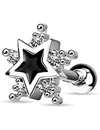 blackama Cemento Cartilage Tragus Helix Barbell Pendientes Estrella Star Enamel Negro 316L Acero Inoxidable Circonita CZ Plata Transparente Mujer