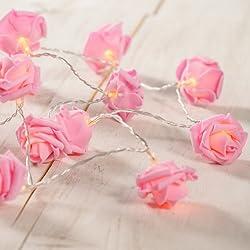 20er LED Rosen Lichterkette pink Batteriebetrieb Lights4fun