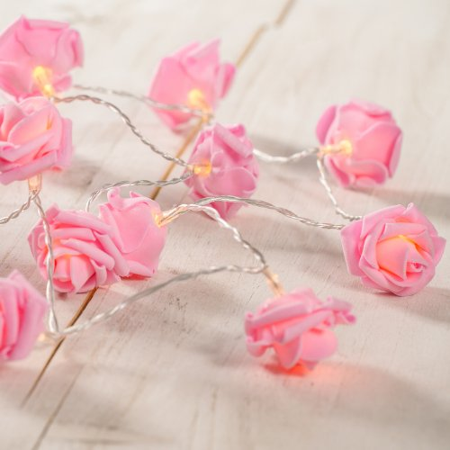 20er LED Rosen Lichterkette pink Batteriebetrieb Lights4fun