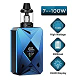 Cigarrillo Electrónico, E Cigarette, Goblin Vape Kit, E Cigarettes,2000mah Rechargeable battery with huge vapour,Simple Operation LED Display,Sin Nicotina y Sin E-líquido (Azul)
