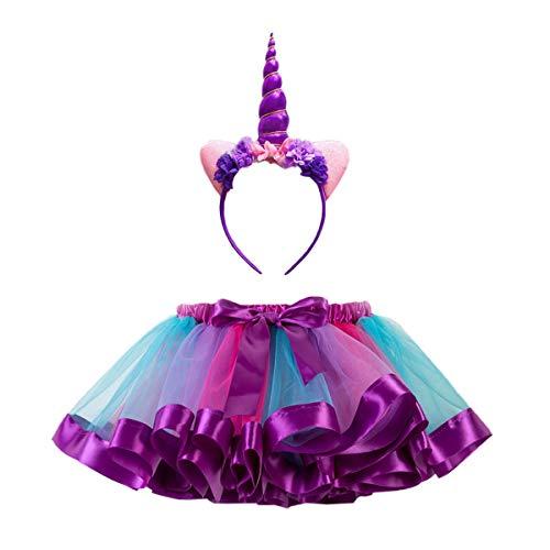 Tüllrock Mädchen mit Einhorn Haarreif Mädchen Tutu Bunt Kinder Regenbogen Ballettrock Tanzkleid Mädchen Rock Kostüm Layered (Large, Lila)