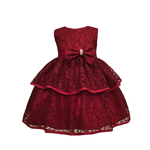 SOFYANA Baby - Girl's Polyester Lace Princess Birthday Party Wear Frock Dress for Girls_Mahroom Frock_200_1-2 Years Kidswear