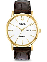 Bulova Mens Analogue Classic Automatic Watch with Leather Strap 97C107