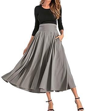 BFUSTYLE Mujeres All Seasons de cintura alta Swing plisado de longitud completa Front Slit Belted Maxi Skirt