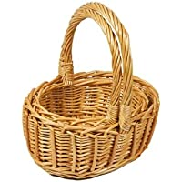 Woodluv Set of 2 Small Oval Wicker Basket with Carry Handles - Natural