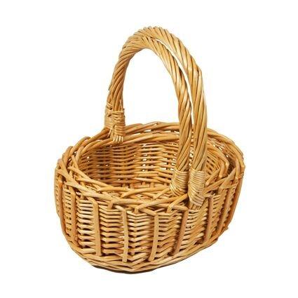 Cesta grande de 22 cm de ancho, 8 cm de alto sin asa y 25 cm con asa aproximadamente. Cesta pequeña de 17 cm de ancho, 7,5 cm de alto sin asa y 23 cm con asa. Las cestas vienen como nido y no tienen forro. Con acabado brillante de pino natural. El as...