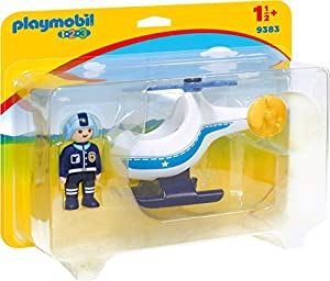 Playmobil- 1.2.3 Helicóptero de Policía Juguete, (geobra Brandstätter 9383)