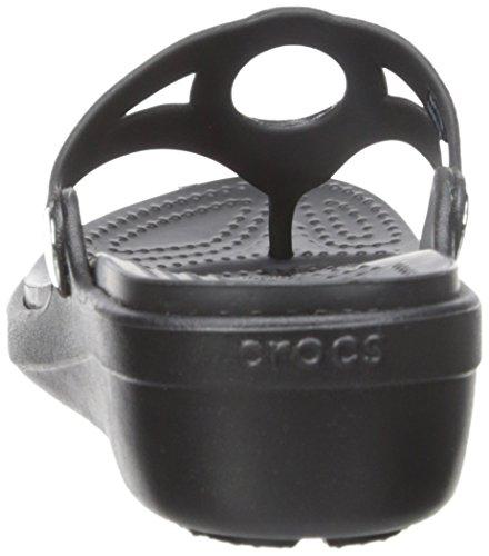Crocs Sanrah biseauté Cercle flip Wedge Sandal Black/black