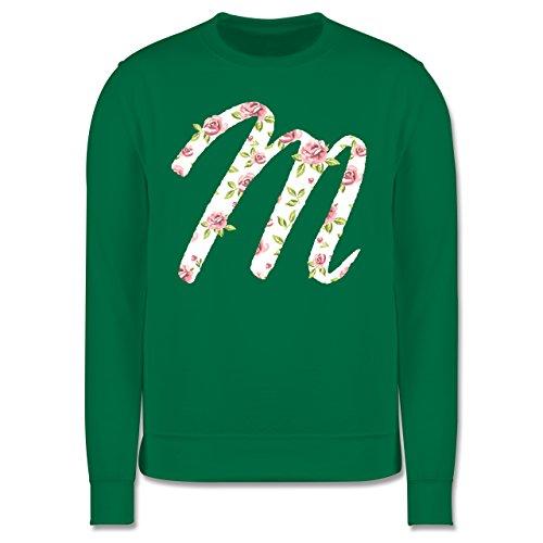 Anfangsbuchstaben - M Rosen - Herren Premium Pullover Grün