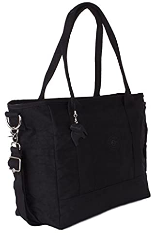 Big Hanbag Shop Large Lightweight Fabric Shopping Tote Shoulder Bag (Black)