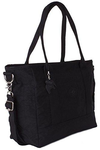 Big Hanbag Shop - Borsa grande Shopper Bag X large a tracolla, leggera Black (KL501)