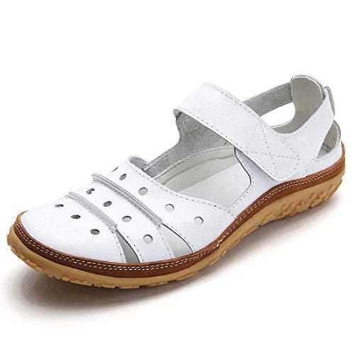 Z.SUO - Sandalias de Piel Suave para Mujer, Planas, cómodas, Informales, para Caminar, Conducir, Mocasines...