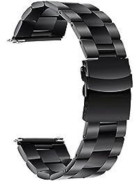 TRUMiRR 22mm Banda de Reloj de liberación rápida Banda de Seguridad de Acero Inoxidable de la Hebilla para Samsung Gear S3 Frente clásico,Moto 360 2 46mm, ASUS ZenWatch 1 2 Hombres, Pebble Time