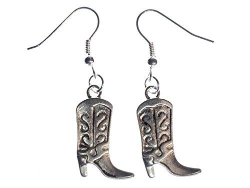 Cowboystiefel Ohrringe Ohrhänger Miniblings Wilder Westen Cowboy Stiefel silber (Cowboy-stiefel-kette)