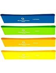 Bande de fitness »Paris«, loop-band en latex pour le fitness, rééducation et physiothérapie, en 4 forces, jaune / légère, orange / moyenne, vert / forte, bleu marin / intense