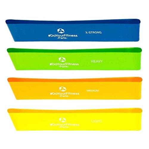 #DoYourFitness® Fitnessbänder in 4-Stärken zum Sparpreis im 4er-Set  Gymnastikbänder mit 50cm Umfang - geschlossene Sportbänder (eng. Mini-Loops) für Reha, Fitness & Gymnastik - Paris 4er-Set