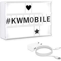 kwmobile Boîte à lumière A6 - Boîte lumineuse cinéma LED - Lightbox changement de couleur et 126 lettres en noir - Pile ou micro USB - 15 x 10 cm
