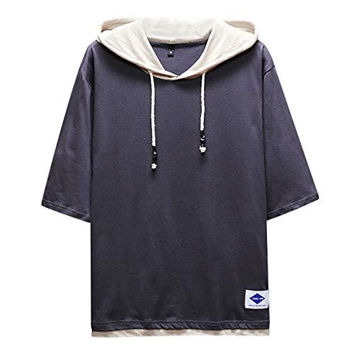 TEBAISE T-Shirts Herren Hip-Hop Kurzarmshirt Streetwear Stil Neu Coole Tops 2019 Sommer Casual Einfarbig Tops Tees Straße Stil Oversized Sweatshirts Harajuku Style Kapuze Schnürung Shirts Schwarz