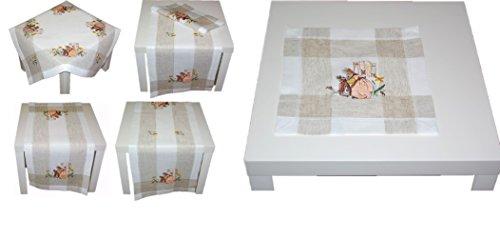 entzückende Tischdecke 30x30 cm Eckig OSTERN Leinenoptik Natur Hasenmutter Landhaus Osterdeckchen Osterdecke (Deckchen 30x30 cm)