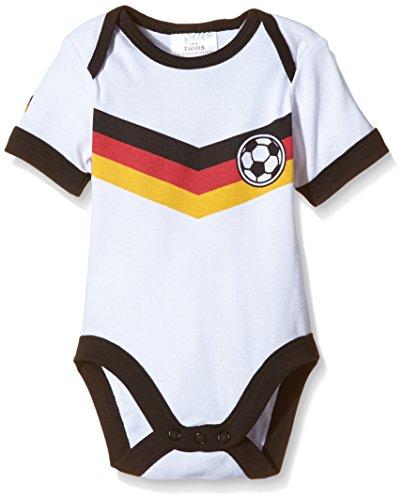 "Twins Unisex Baby - Kurzarm-Body ""Fußball-Trikot"", Gr. 56, Weiß (Weiss 11-0601)"