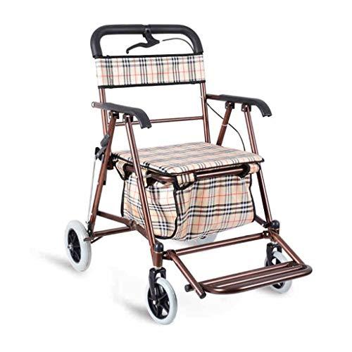 Rollwagen Der Alte Faltende Roller des Einkaufswagens Hauptrad Kann Drücken, Kann Den Einkaufswagen Im Freien Älteren Tragbaren Wagen Falten 100kg Sitzen Rollwagen