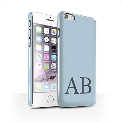 Personalisiert Pastell Monogramm Glanz Hülle für Apple iPhone 6 / Grünes Design / Initiale/Name/Text Snap-On Schutzhülle/Case/Etui Blaues