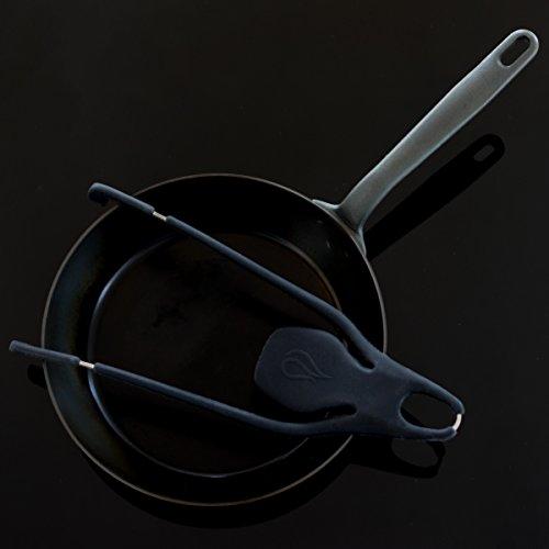Spritzschutz für Pfannen Octopus aus Silikon/Edelstahl für Größen 24-32cm (Anthrazit)