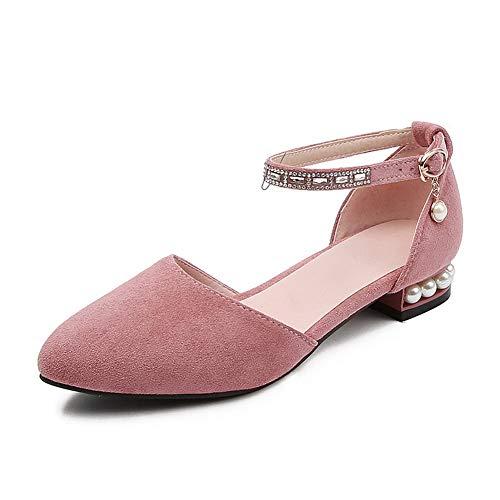 1TO9 MJS04009 Blocco Scarpe col Tacco Puro Fibbia Perline Donne Rosa - 34 EU (Etichetta:33)