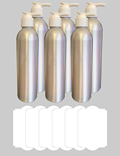 SFP-Verpackung, 250 ml, Aluminium, leer, nachfüllbar, Weiß 6 Pack Silber -