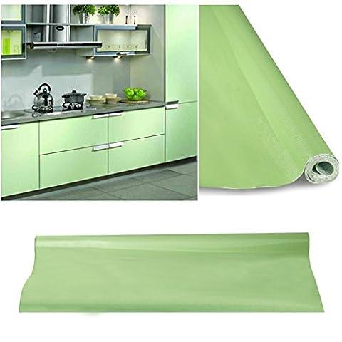 KINLO® selbstklebende folie küche Grün 61x500cm Tapeten küche aus hochwertigem PVC klebefolie aufkleber küchenschränke Wasserfest Möbelfolie für schrank selbstklebende folie Küchenschrank küchenfolie Dekofolie 2 Jahren Garantie