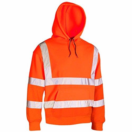 Price comparison product image MyShoeStore Hi VIS Viz Hooded Sweatshirt High Visibility Reflective Tape Band Work Fleece Safety Sweat Shirts Jacket Workwear Hoodie Work Wear Hoody Jumper Top (Hoody Orange,  L)