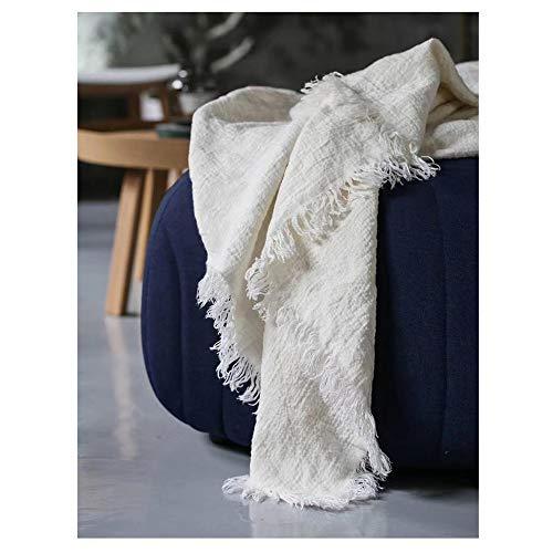 JASONN Moderne minimalistische weiche kühle Decke, handgeschnittene gerissene Kanten, Dicke und weiche strukturierte Decke Quilts (Leinen - Natur/Weiß),White,150 * 230cm