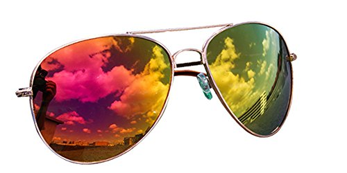 Pilotenbrille Verspiegelt Fliegerbrille Sonnenbrille Pornobrille Brille 12 Farben (Orange-Pink)