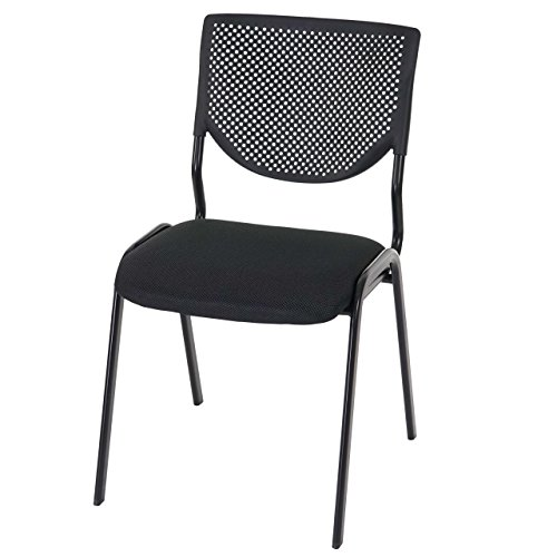 4x Besucherstuhl T401, Konferenzstuhl stapelbar, Textil ~ Sitz schwarz, Füße schwarz