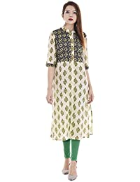 Palakh Women's Cotton Straight Printed Kurti (Multicolor)