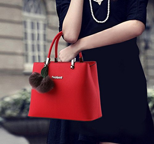 Donna Borse a Mano Granulate di Alta Capacità Semplice e Classico con Due Capelli Palle e Foglio Decorativo Cielo blu Vino rosso