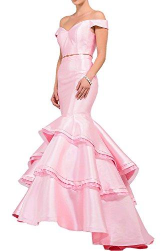 Victory Bridal Schwarz Glamour Spitze Lang Abendkleider Partykleider Celebrity Festlichkleider Meerjungfrau Still Rosa