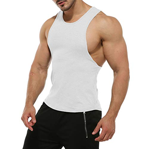 MAYOGO Tshirt Herren Armelloses Manner Gym Tshirt Solid Sport t Shirt Herren Fitness Lauf Weste Vest Tops Hemden
