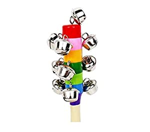 Modish Baby Kid Rainbow Pram Crib Handle Wooden Bell Stick Shaker Rattle Toy by Cheap4uk
