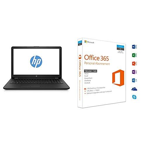 Preisvergleich Produktbild HP 15-bw050ng 2CN90EA 39,6 cm (15,6 Zoll) Laptop (AMD Dual-Core E2-9000e, 4 GB RAM, 128GB SSD, AMD Radeon R2-Grafikkarte, FreeDOS 2.0) schwarz + Microsoft Office 365 Personal - 1 PC/MAC - 1 Jahresabonnement - multilingual (Product Key Card ohne Datenträger)