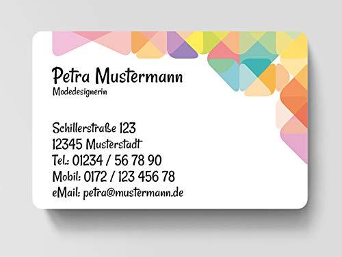 100 Visitenkarten, laminiert, 85 x 55 mm, inkl. Kartenspender - Mode Design
